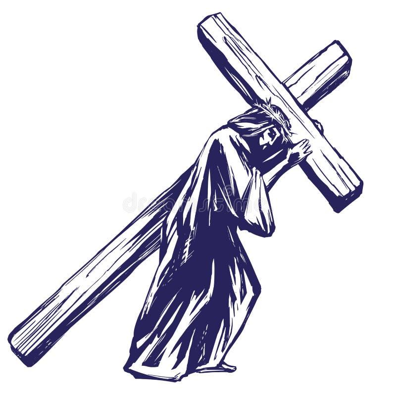 Jesus Christ, Zoon van God draagt het kruis vóór de kruisiging, symbool van Christendomhand getrokken vectorillustratie vector illustratie