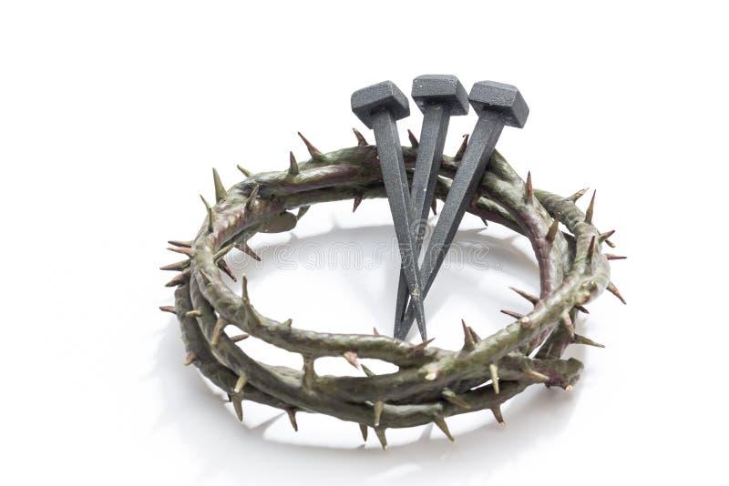 Jesus ChristDornenkrone und Nägeln stockfotos