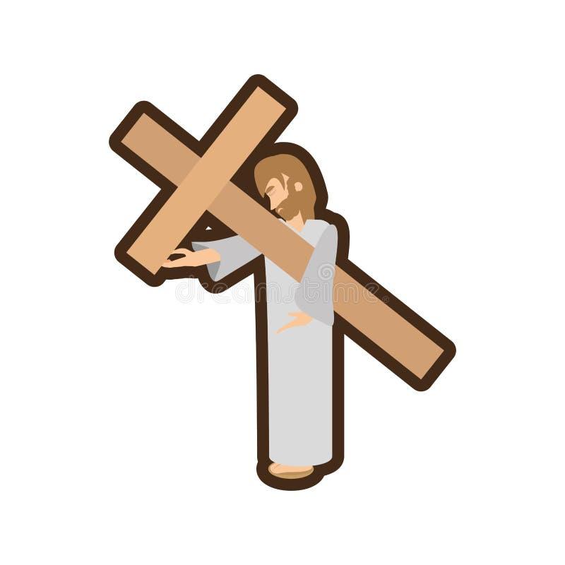 Jesus-Christus bidt meisjeslijn stock illustratie