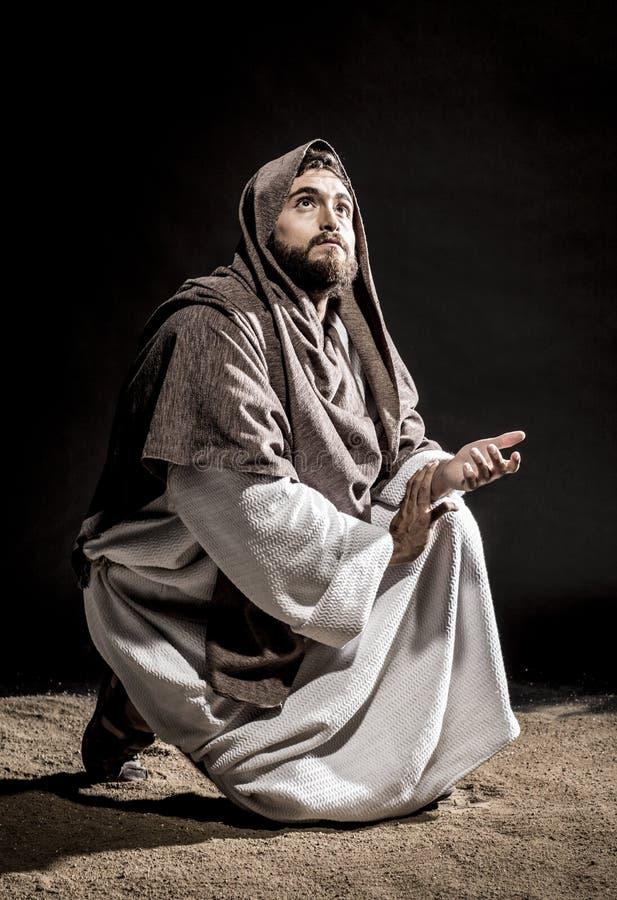 Jesus Christus, der bevor dem Fasten betet stockfotos