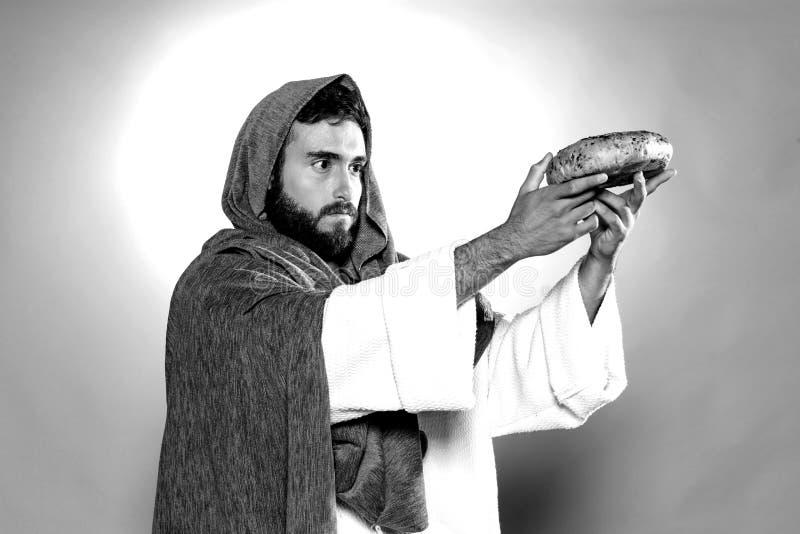 Jesus Christus, der bevor dem Fasten betet stockbilder