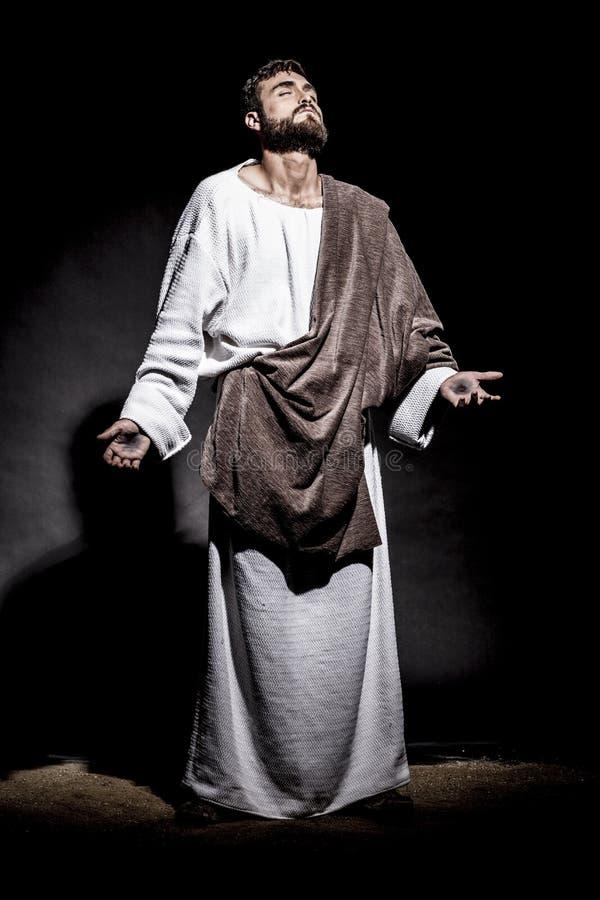 Jesus Christus, der bevor dem Fasten betet lizenzfreies stockfoto