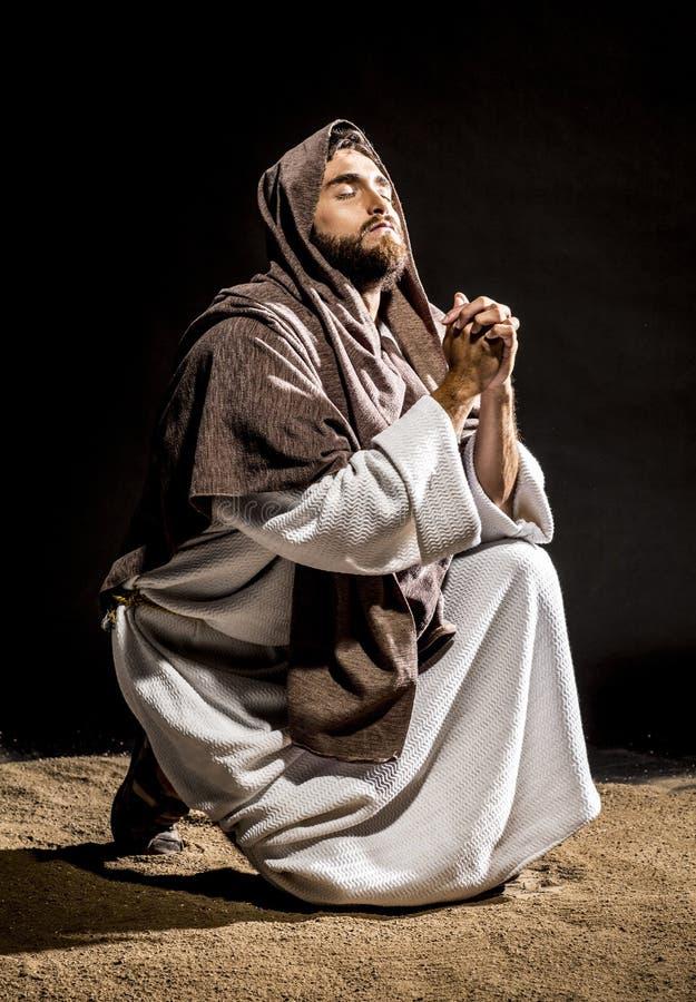 Jesus Christus, der bevor dem Fasten betet lizenzfreie stockfotos