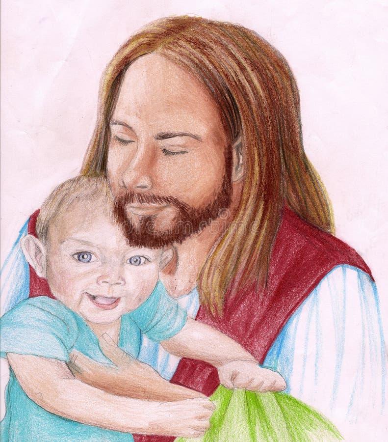 Jesus-Christus die een jong kind houdt stock fotografie