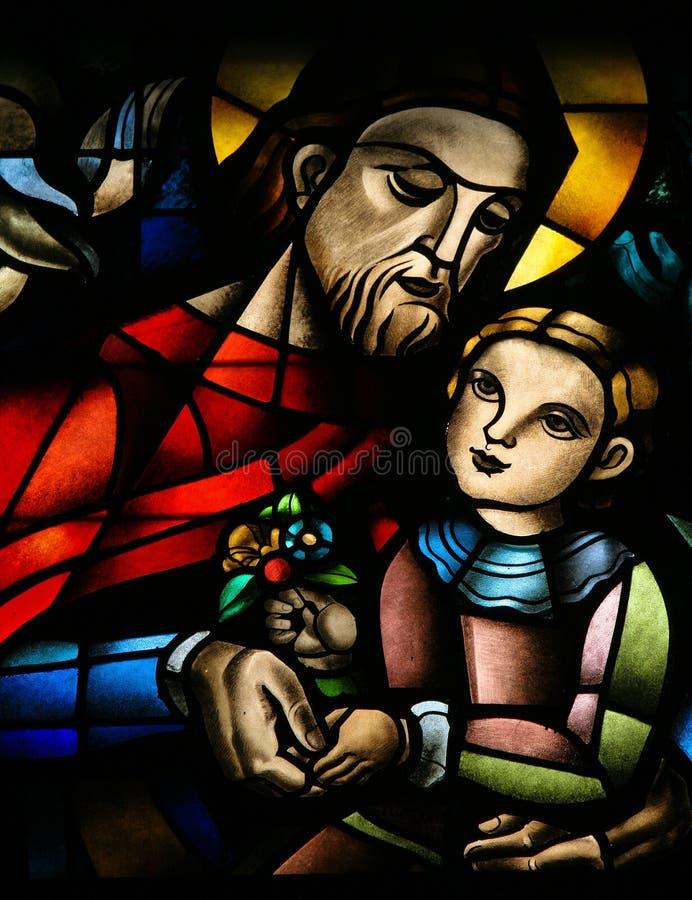 Jesus-Christus en een kind. royalty-vrije stock foto