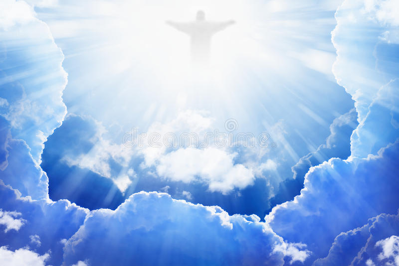 Jesus-Christus in hemel stock afbeelding