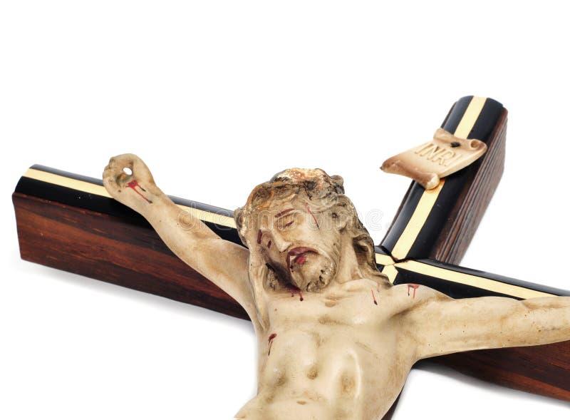 Jesus-Christus in het heilige kruis stock afbeeldingen