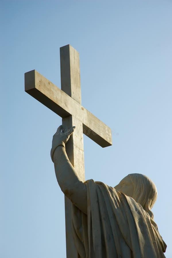 Jesus-Christus houdt hartstochtskruis royalty-vrije stock fotografie