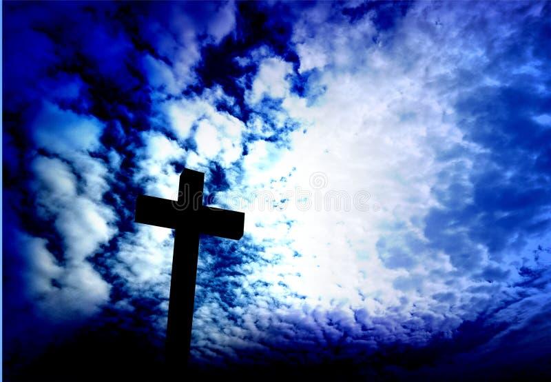 Jesus Christus-Kreuz Eine Abbildung einer Batikauslegung in zwei Farbtönen Braun oder des Tan in einer Kreisauslegung für Gebrauc lizenzfreies stockbild
