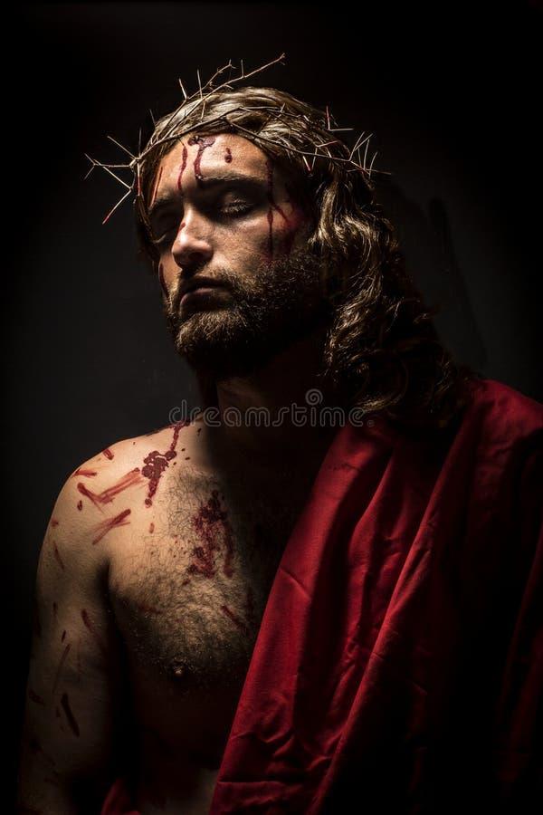 Jesus Christus mit Dornenkrone lizenzfreie stockfotos