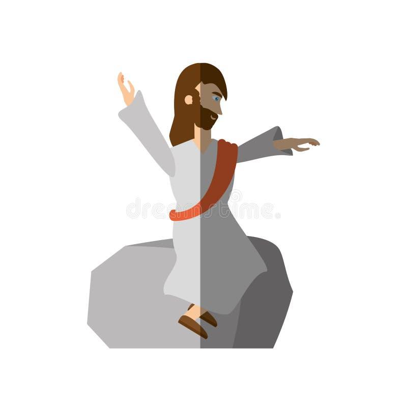 Jesus-Christus predikt bidt schaduw vector illustratie
