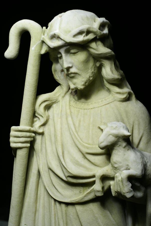 Jesus Christus-Schäferhund-Statue stockfotos