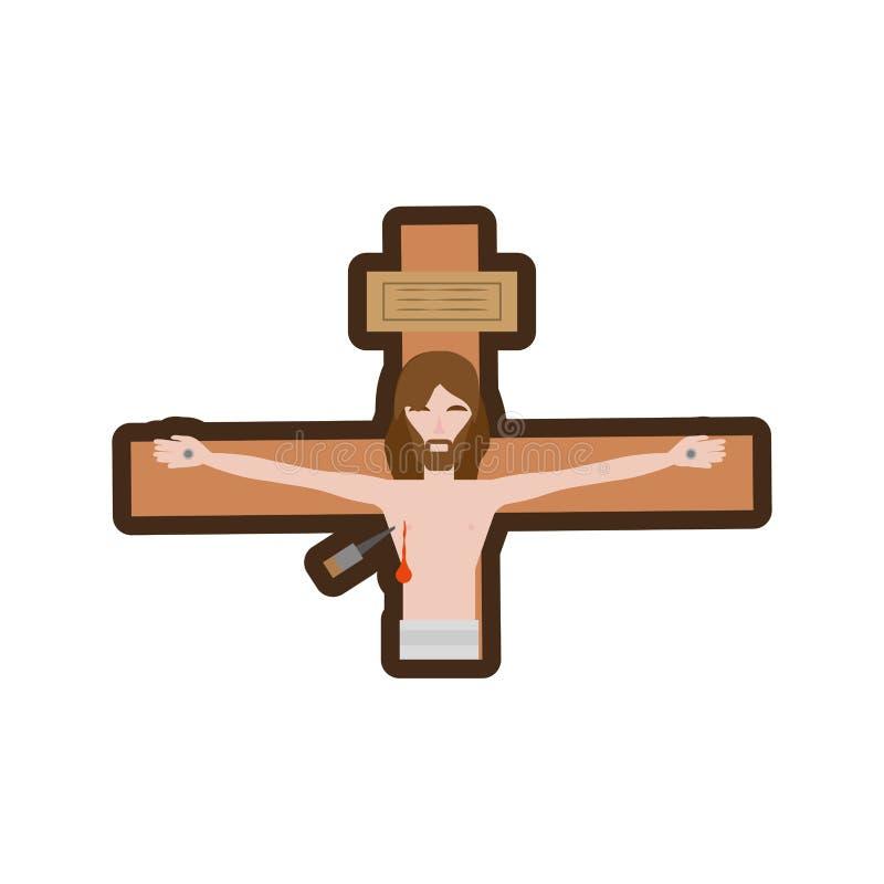 Jesus-Christus sterft dwarslijn stock illustratie