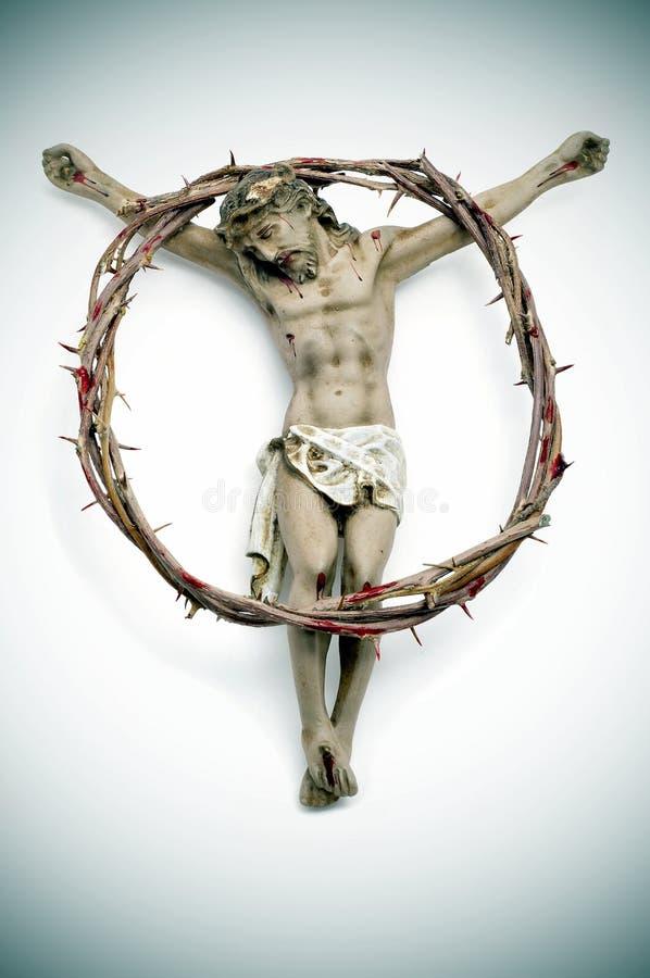 Jesus Christus und blutiges Dornenkrone lizenzfreies stockbild