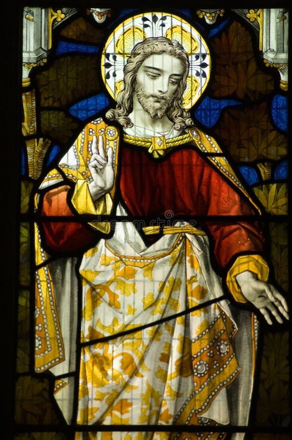 Jesus Christussegenfenster lizenzfreie stockfotos