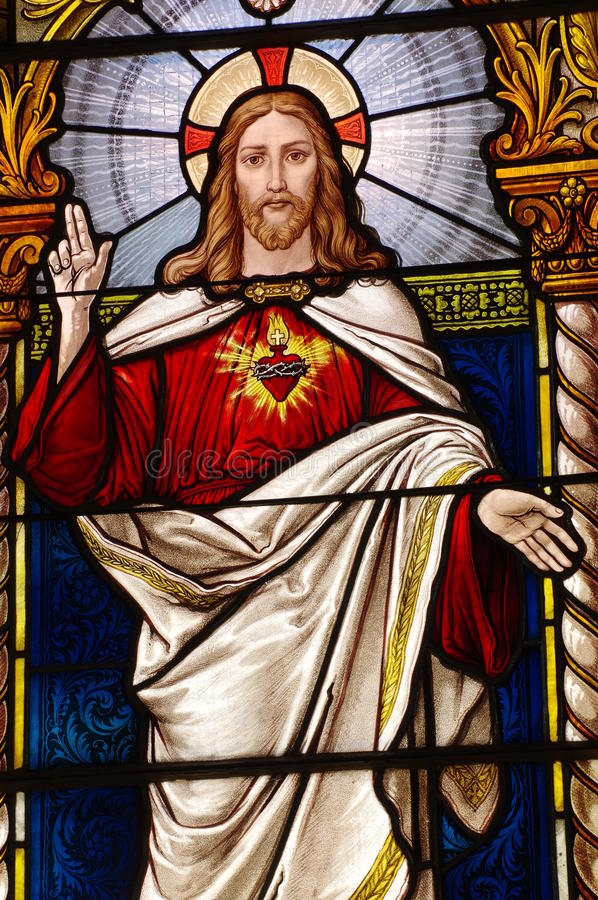 Download Jesus Church Stained Glass Windows Stock Photo