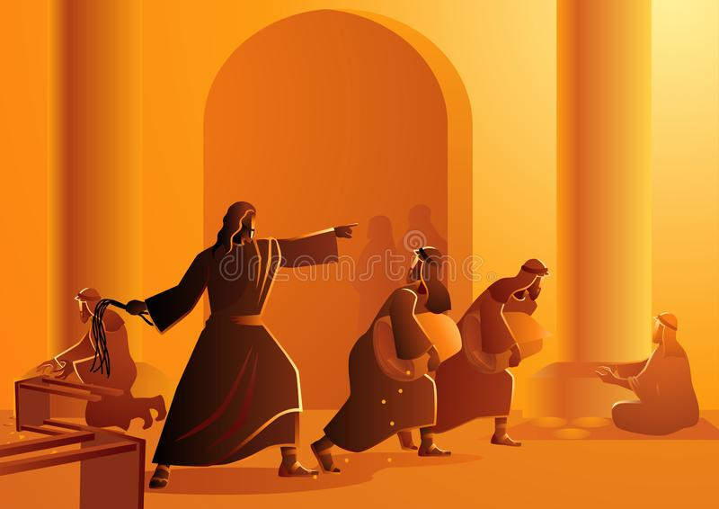 Jesus Cleanses The Temple. Biblical vector illustration series, Jesus cleanses the temple vector illustration