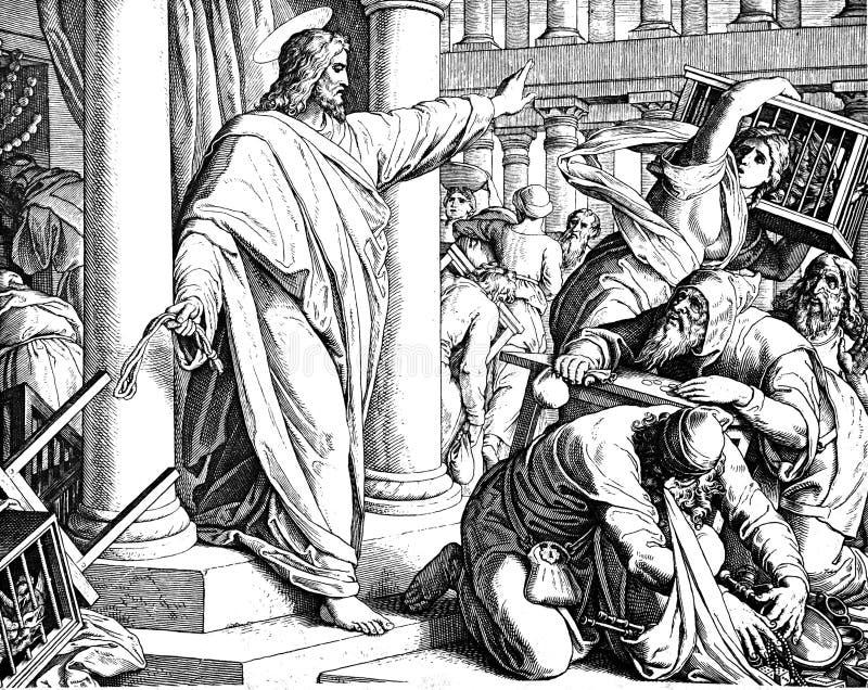 Jesus Clears el templo imágenes de archivo libres de regalías