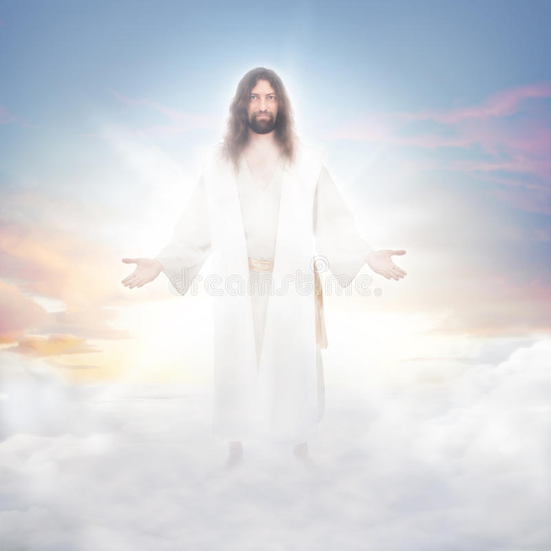 Jesus in the clouds royalty free stock image