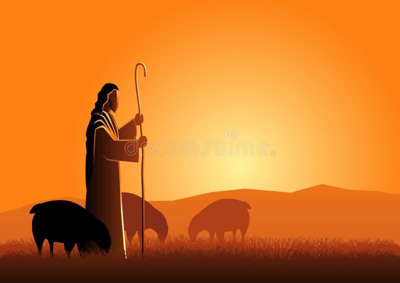 Jesus como um pastor ilustração stock