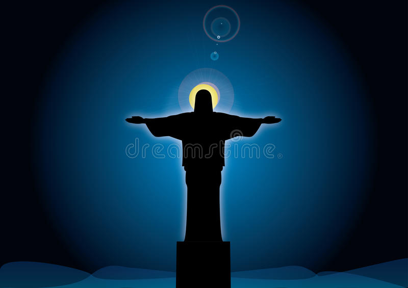 Jesus contro il cielo illustrazione vettoriale