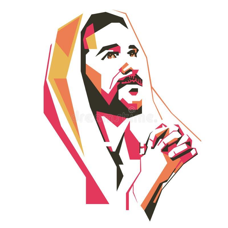 Jesus Crist Praying vektorillustration eps vektor illustrationer