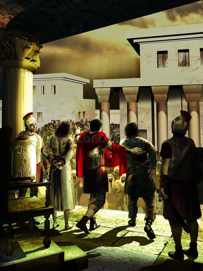 Jesus Cristo contra Barrabas ilustração royalty free