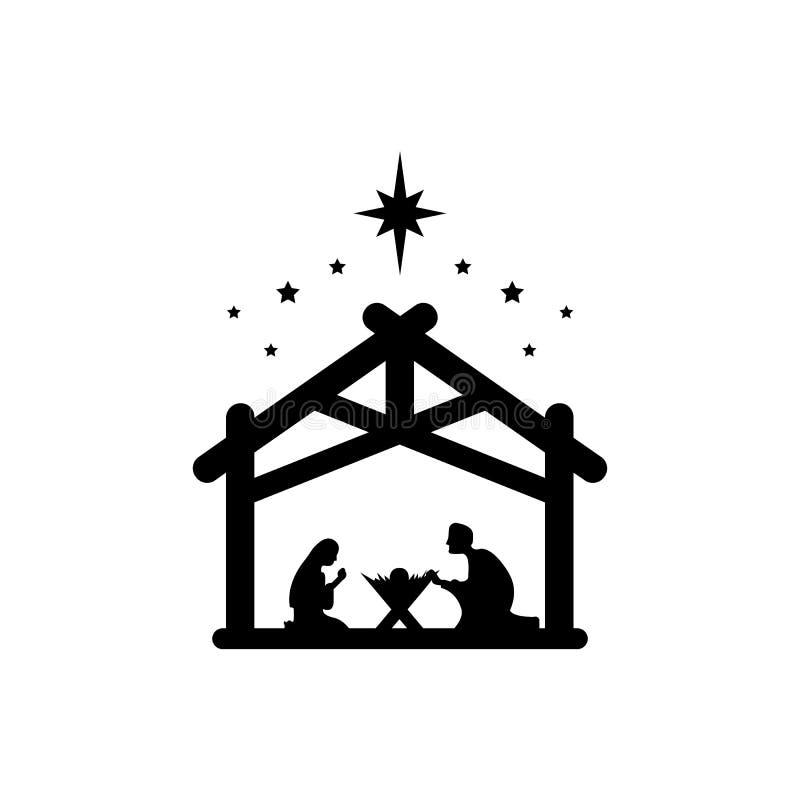 Jesus Cristo nasceu símbolo Mary e Joseph curvavam-se ao recém-nascido Salvador num estábulo Vetor EPS 10 ilustração stock