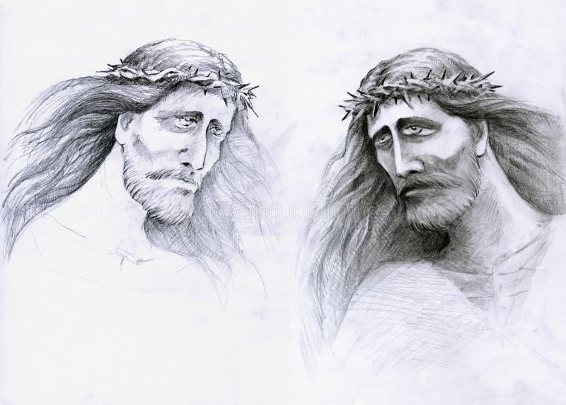 Jesus Cristo triste a poupança ilustração royalty free