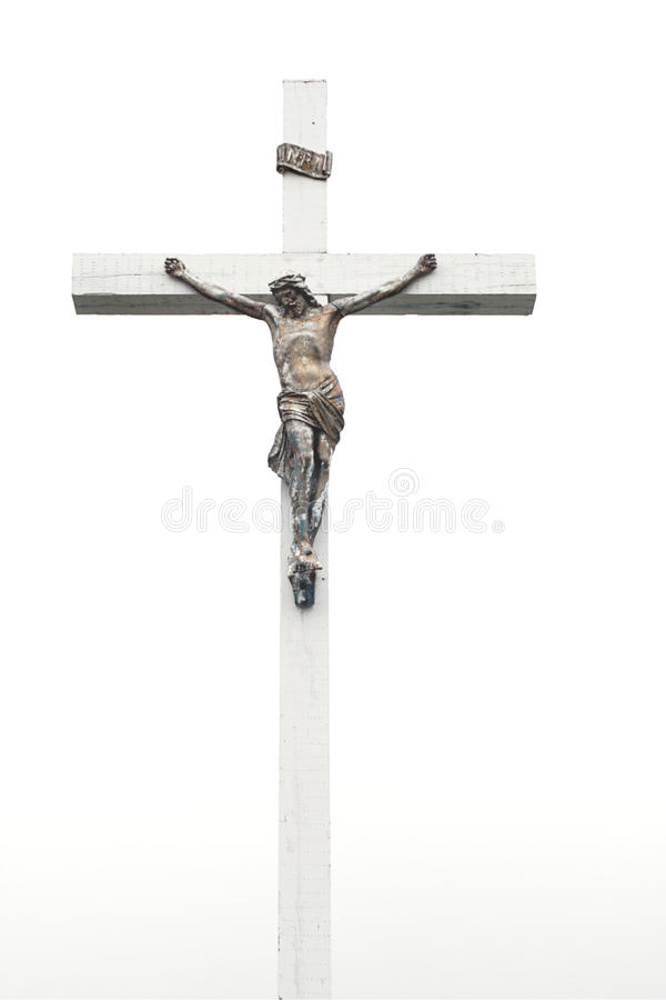 Jesus on cross. Jesus Christ nailed to white wooden cross royalty free stock image