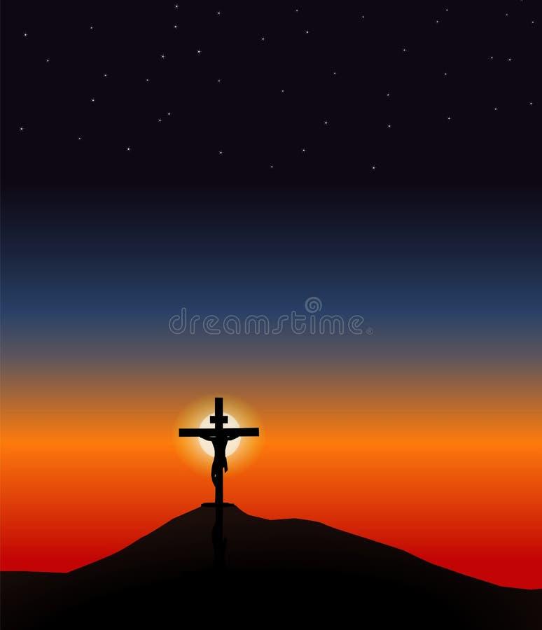 Jesus on the Cross. Before resurrection vector illustration