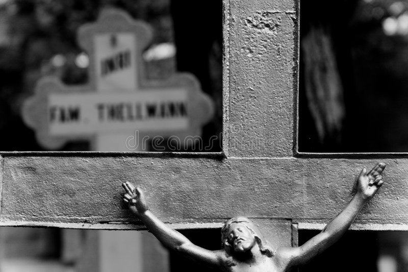 Jesus On The Cross. Black and white closeup of Jesus on the cross stock image