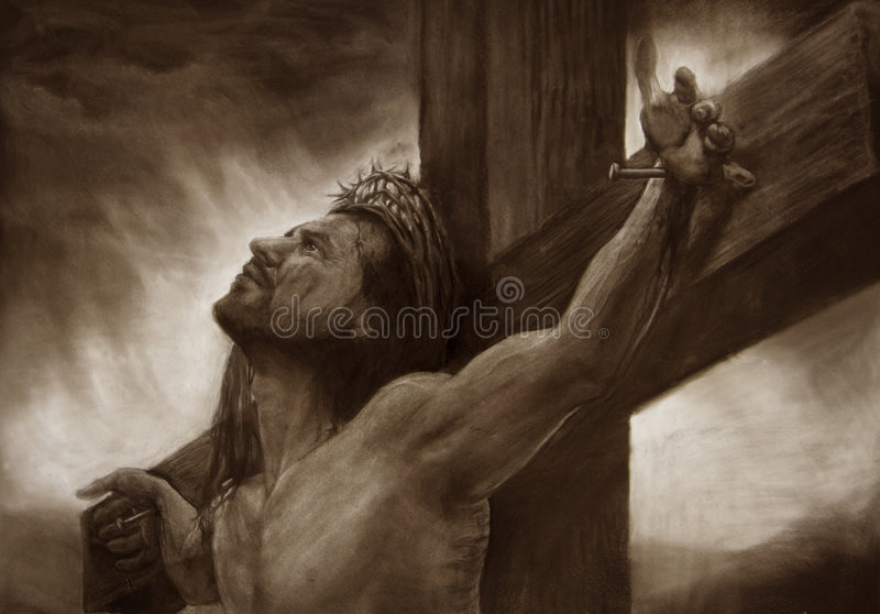 Jesus on the cross calvary royalty free illustration