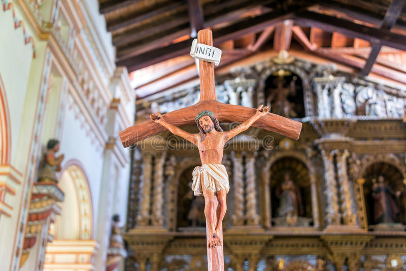 Jesus on the Cross in San Ramon, Bolivia stock photos