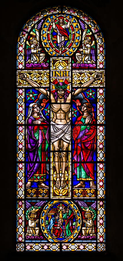 Jesus on the Cross Stained Glass Window