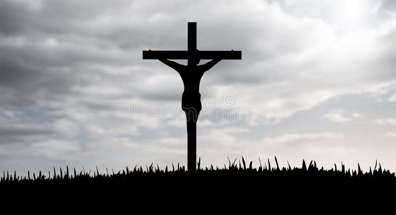 Jesus on the cross vector. Digitally generated Jesus on the cross vector stock illustration