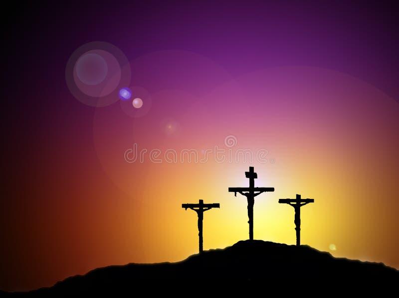 Jesus and crosses stock illustration