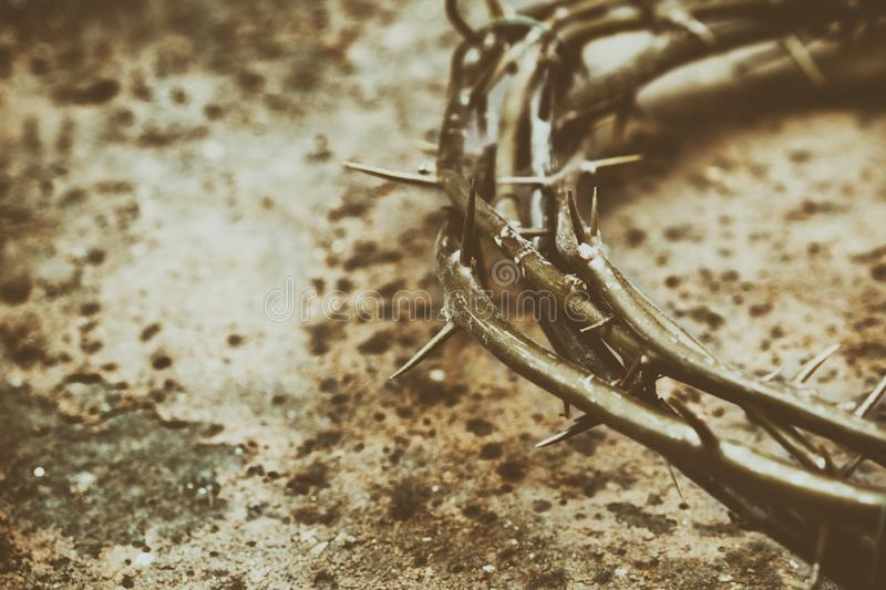 Jesus Crown of Thorns on the Grunge Background. Vintage Retro Effects Added royalty free stock photo