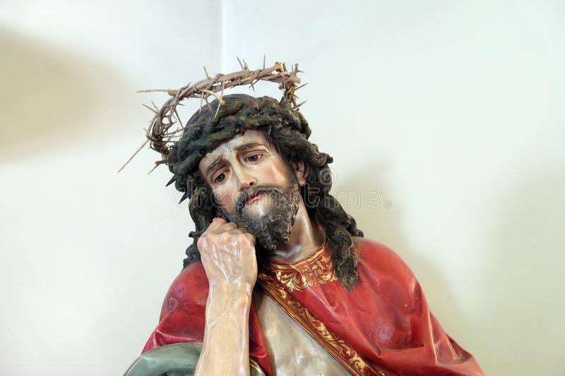 Jesus crowned with thorns. Chapel of Saint Roch, Zagreb, Croatia stock photography