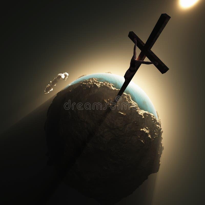 Jesus crucifix above world stock photography