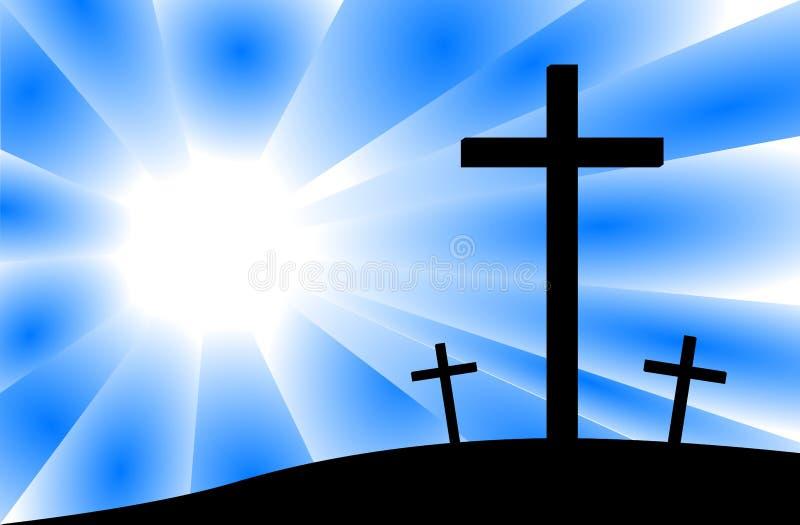 Jesus Crucifixion Calvary Scene Three Crosses. Illustration featuring rays of light on the calvary scene of Jesus crucifixion with silhouette of three crosses royalty free illustration
