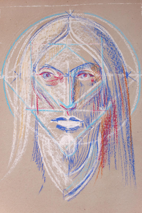Jesus (de tekening van het kind) stock afbeelding