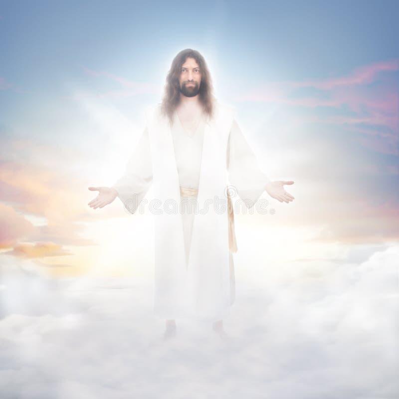 Jesus in de wolken royalty-vrije stock afbeelding