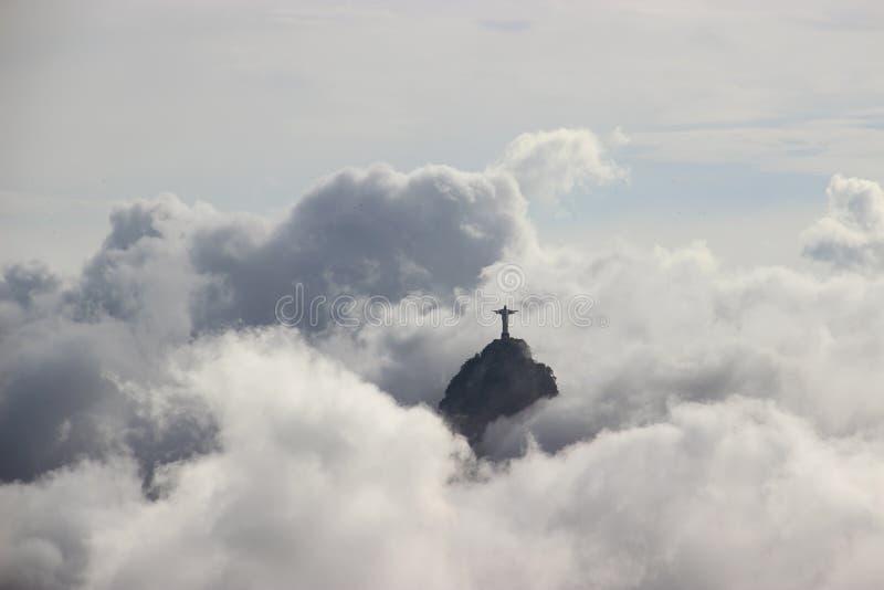 Jesus in de wolken Rio stock fotografie