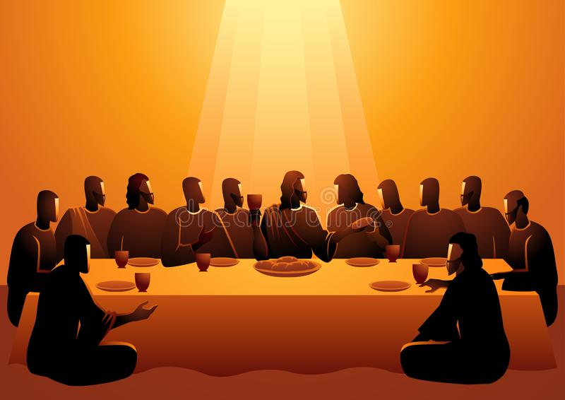 Jesus deelde met zijn Apostelen stock illustratie