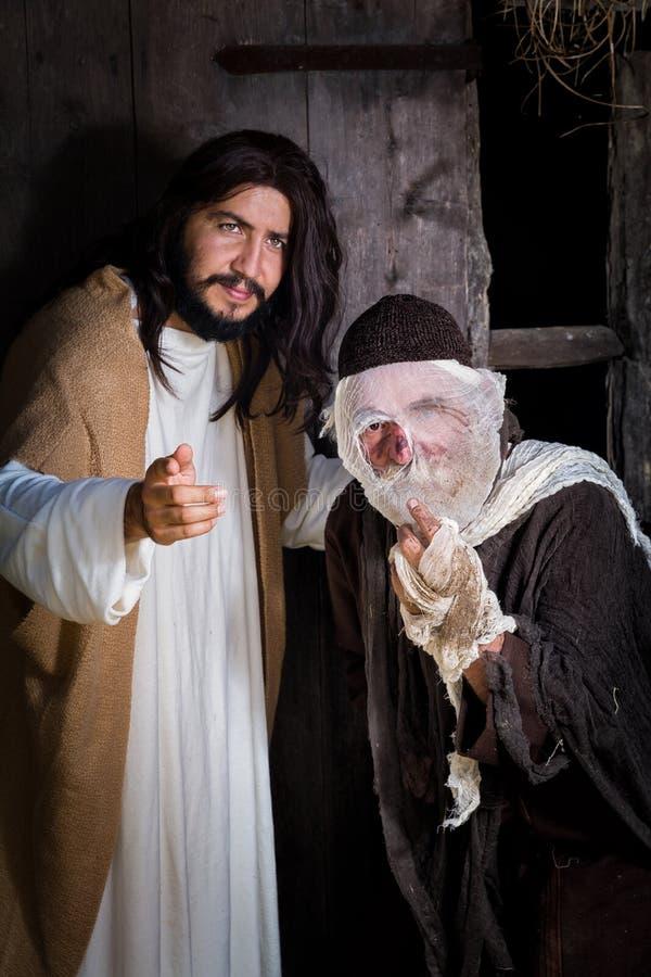 Jesus, der den Aussätzigen kuriert lizenzfreies stockbild