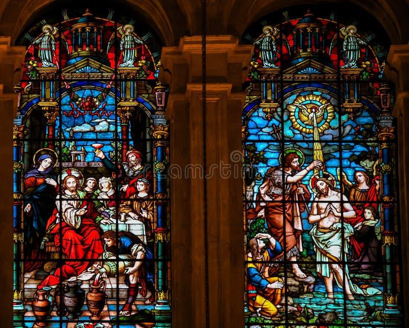 Jesus an der Heirat bei Cana und an der Taufe durch Johannes lizenzfreie stockfotografie