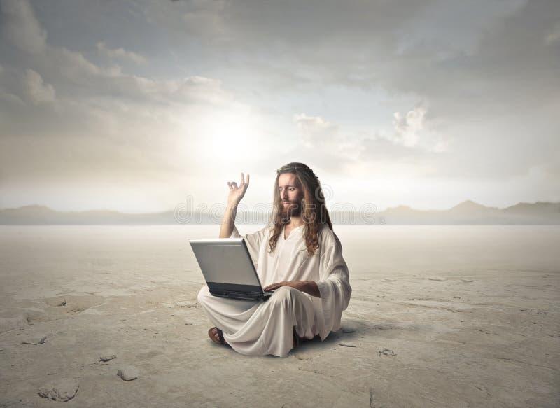Jesus in the desert royalty free stock photos