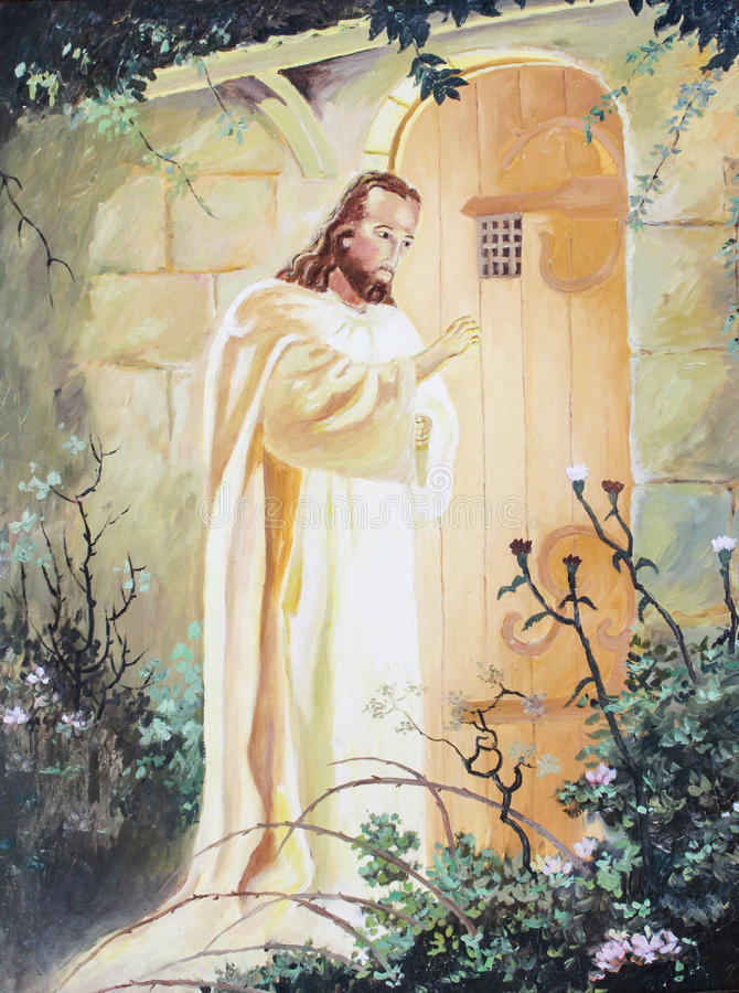 Jesus die bij de deur kloppen royalty-vrije illustratie
