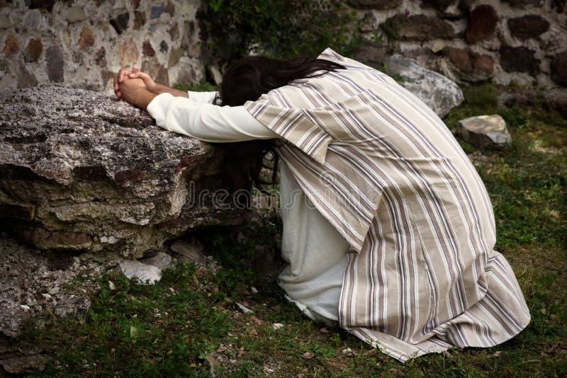 Jesus die in de tuin van olijven bidden stock afbeelding